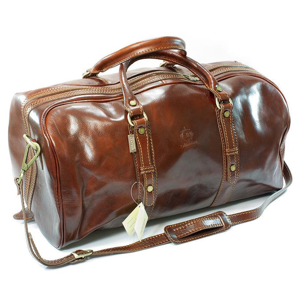 Manufactus Cesare Medium-Size Leather Travel Bag, Tobacco - Fendrihan - 1
