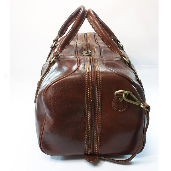 Manufactus Cesare Medium-Size Leather Travel Bag, Tobacco - Fendrihan - 2