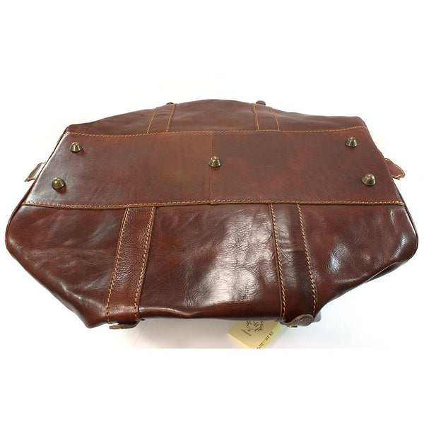 Manufactus Cesare Medium-Size Leather Travel Bag, Tobacco - Fendrihan - 5