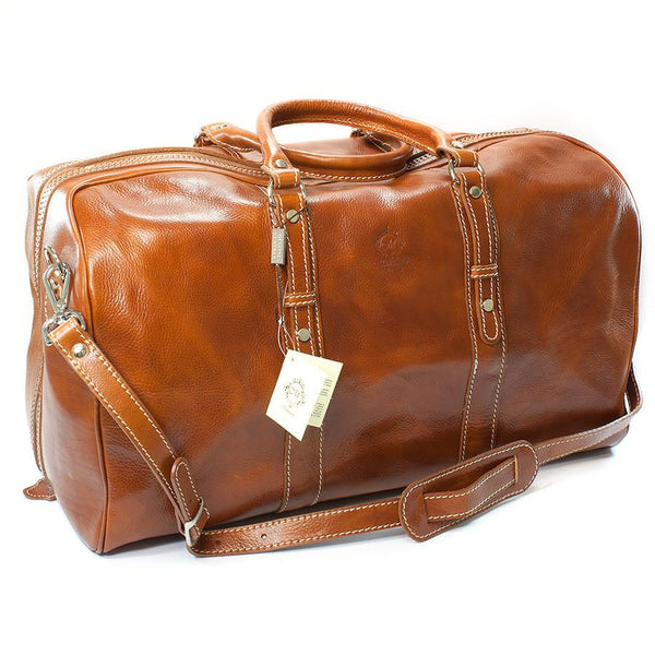 Manufactus Augusto Large-Size Leather Travel Bag, Honey - Fendrihan - 1