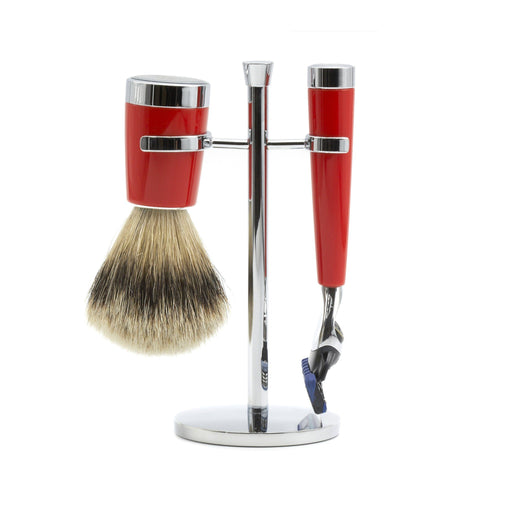 """True North"" 3-Piece Shaving Set with Gillette Fusion Razor and Silvertip Badger Brush - Fendrihan - 1"