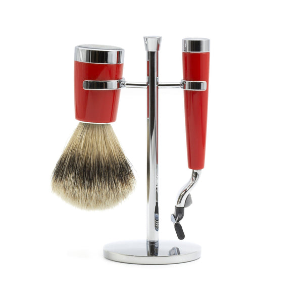 """True North"" 3-Piece Shaving Set with Gillette Mach3 Razor and Silvertip Badger Brush - Fendrihan - 1"