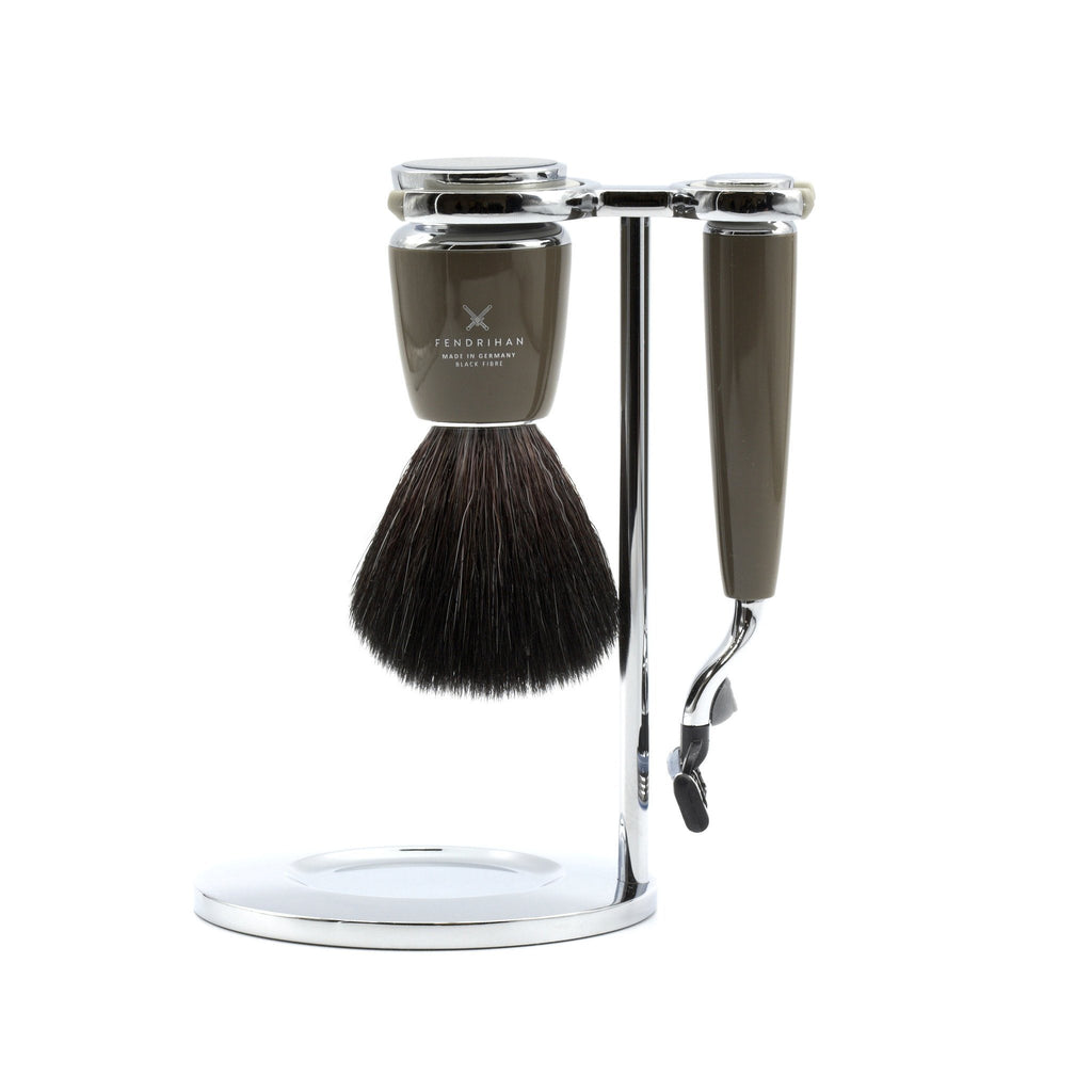 Fendrihan 4-Piece Shaving Set with Gillette Mach3 Razor and Black Fiber Brush, Stone - Fendrihan - 2