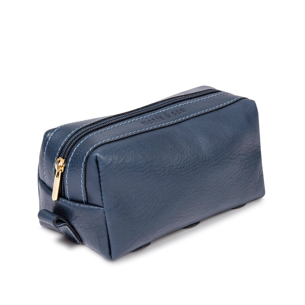 monte & coe Leather Travel Kit Toiletry Bag monte & coe Navy