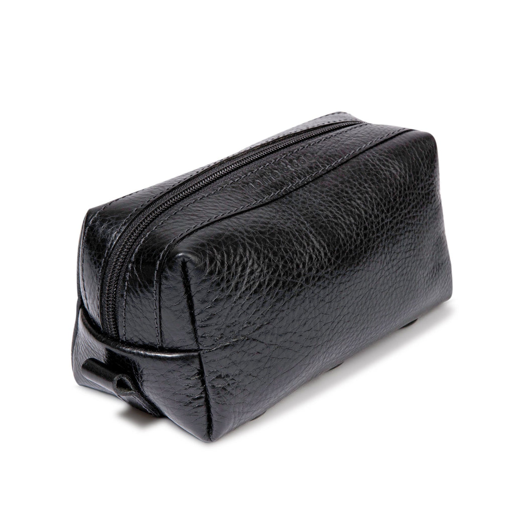 monte & coe Leather Travel Kit Toiletry Bag monte & coe Black