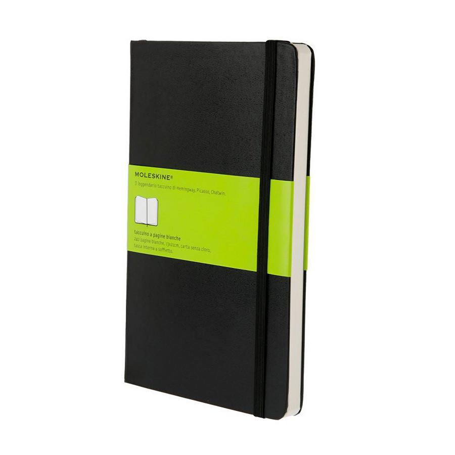 Moleskine 5 x 8 Hard Cover Notebook in Black, Plain Notebook Moleskine