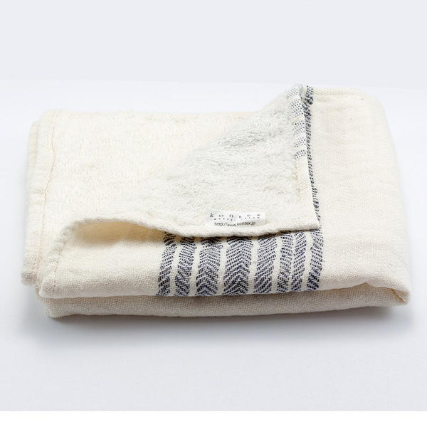 Kontex Flax Line Organic Hand Towel, Ivory with Navy Stripes - Fendrihan - 2