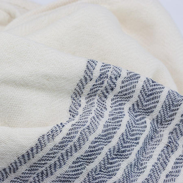 Kontex Flax Line Organic Hand Towel, Ivory with Navy Stripes - Fendrihan - 4
