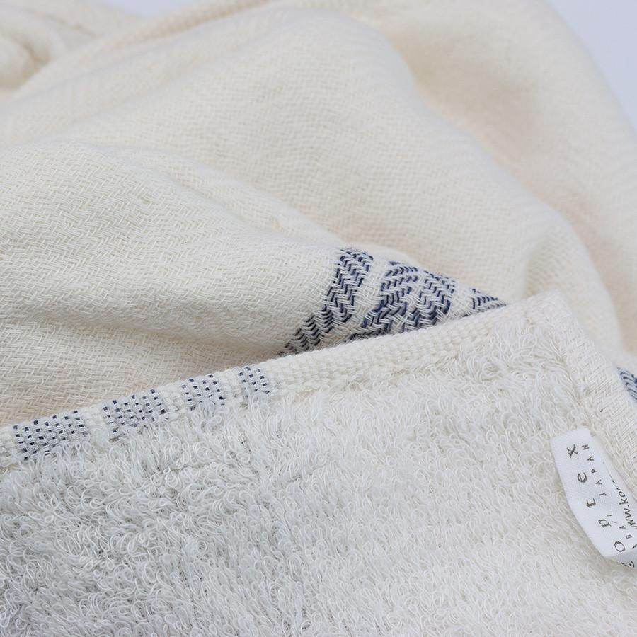 Kontex Flax Line Organic Hand Towel, Ivory with Navy Stripes Bath Towel Japanese Exclusives