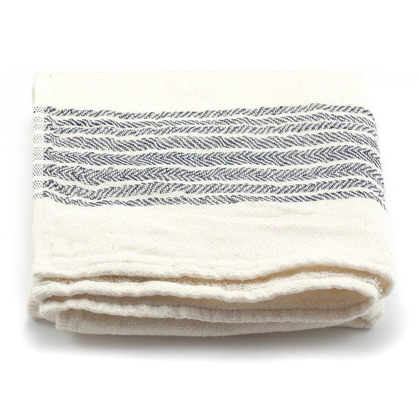 Kontex Flax Line Organic Hand Towel, Ivory with Navy Stripes - Fendrihan - 1