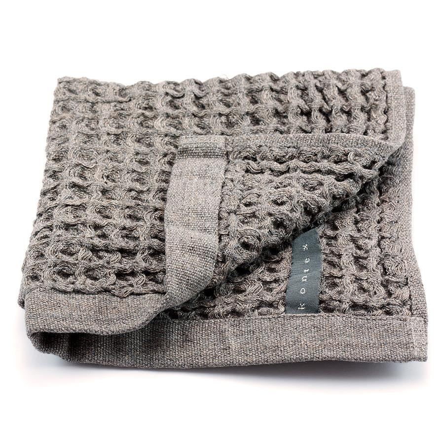 Kontex Cotton Lattice Towel, Grey Bath Towel Japanese Exclusives Washcloth (36 x 36 cm)