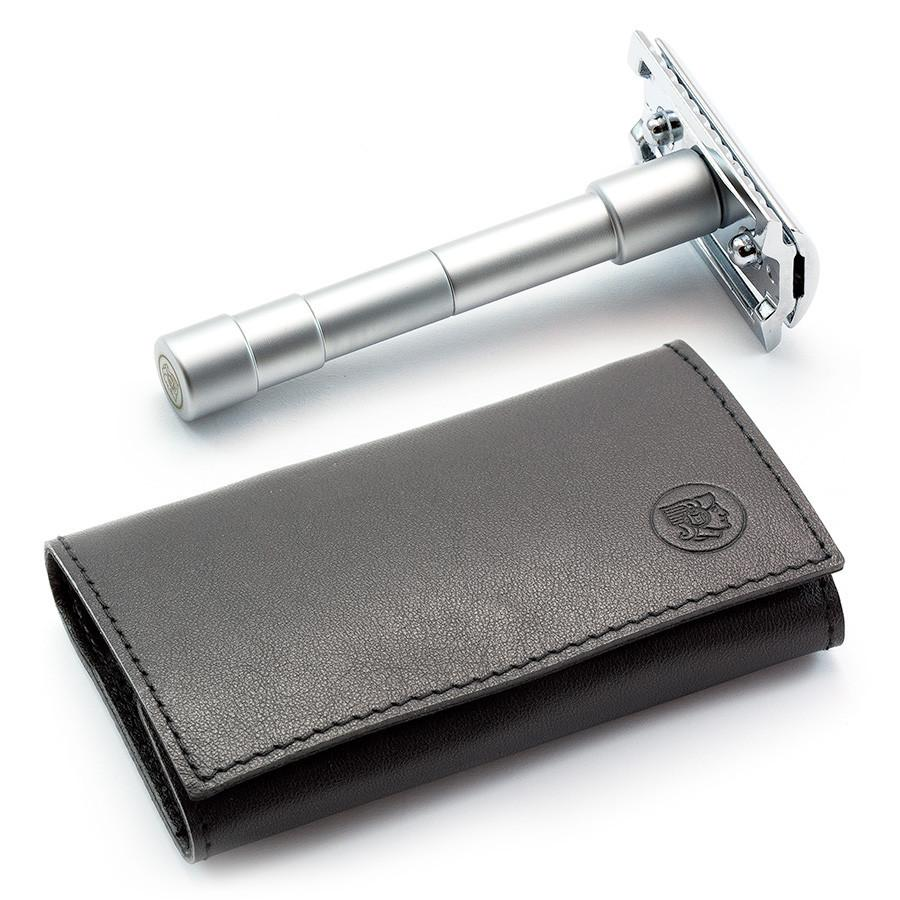 Merkur 46C 3-Piece Travel Razor in Leather Case Double Edge Safety Razor Merkur