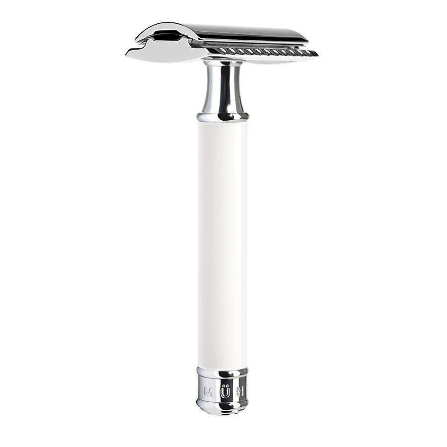 Muhle R107 Double-Edge Classic Safety Razor, White Handle Double Edge Safety Razor Muhle