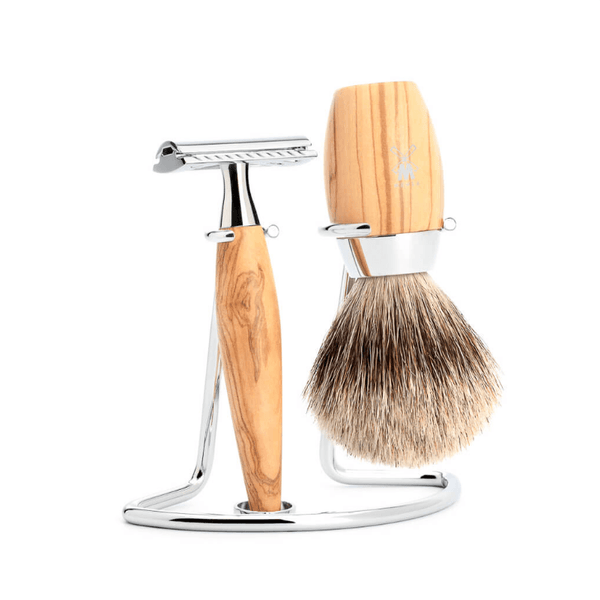 Muhle Kosmo 3-Piece Shaving Set with Safety Razor and Silvertip Badger brush, Olivewood - Fendrihan - 1