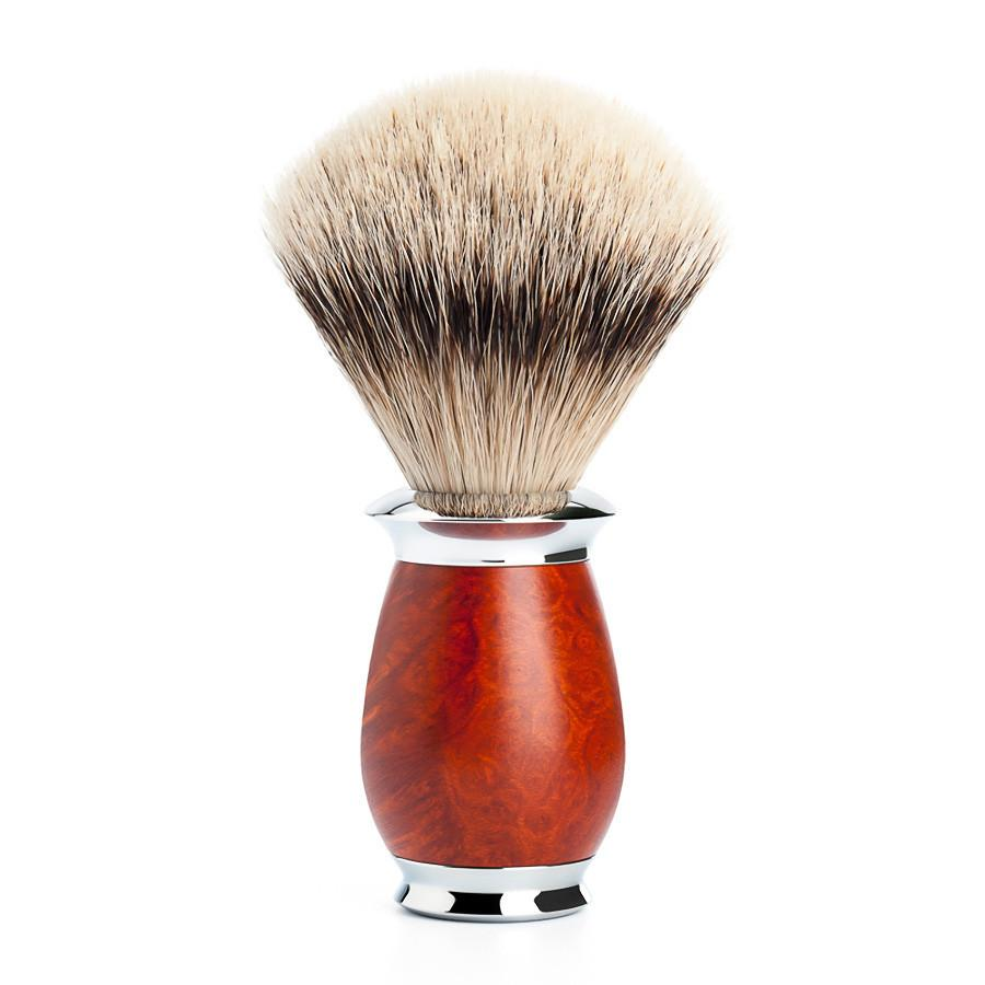 Muhle Purist Silvertip Shaving Brush, Briar Wood Handle - Fendrihan