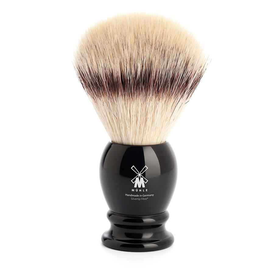 Muhle Silvertip Fibre Extra-Large Shaving Brush, Black Handle Synthetic Bristles Shaving Brush Discontinued