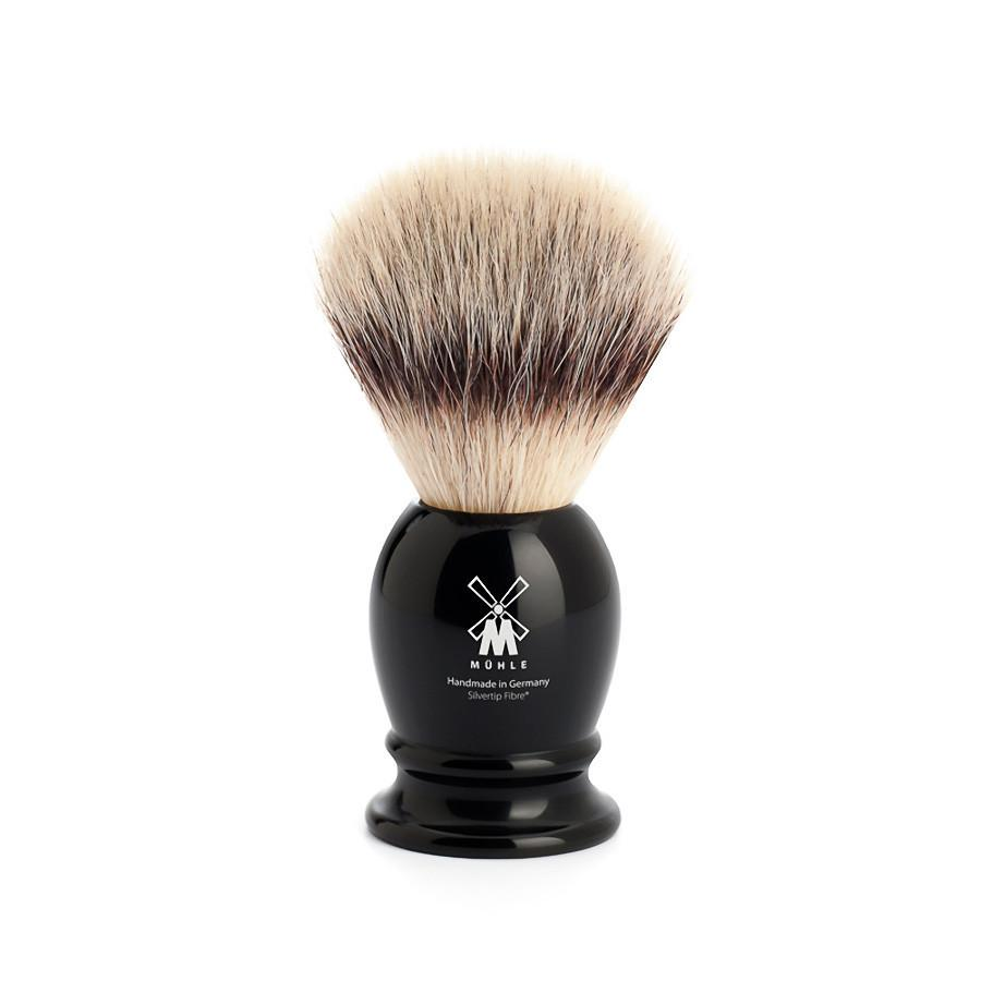 Muhle Silvertip Fibre Small Shaving Brush, Black Handle Synthetic Bristles Shaving Brush Discontinued