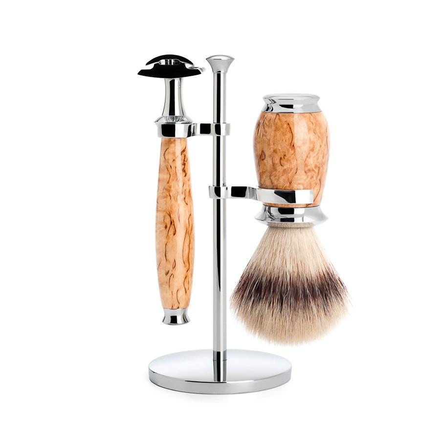 Muhle Purist 3-Piece Shaving Set with Safety Razor and Silvertip Fibre Brush, Karelian Burl Birch Wood Shaving Kit Discontinued