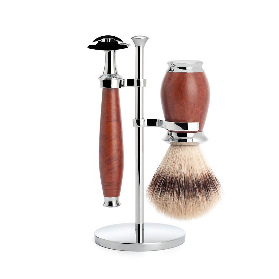 Muhle Purist 3-Piece Shaving Set with Safety Razor and Silvertip Fibre Brush, Briar Wood Shaving Kit Discontinued