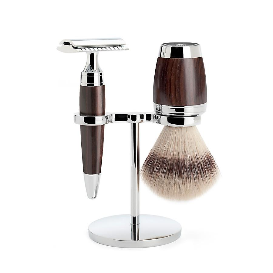 Muhle Stylo 3-Piece Shaving Set with Safety Razor and Silvertip Fibre Brush, African Blackwood Shaving Kit Discontinued