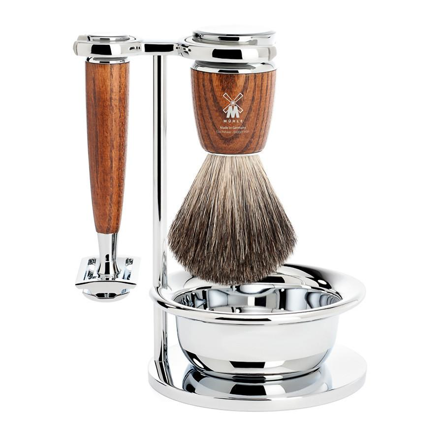 Muhle Rytmo 4-Piece Shaving Set with Safety Razor and Pure Badger Brush, Ash Wood Shaving Kit Discontinued