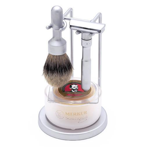 DOVO Merkur Futur 4-Piece Classic Wet-Shaving Set, Satin Finish Shaving Kit Merkur