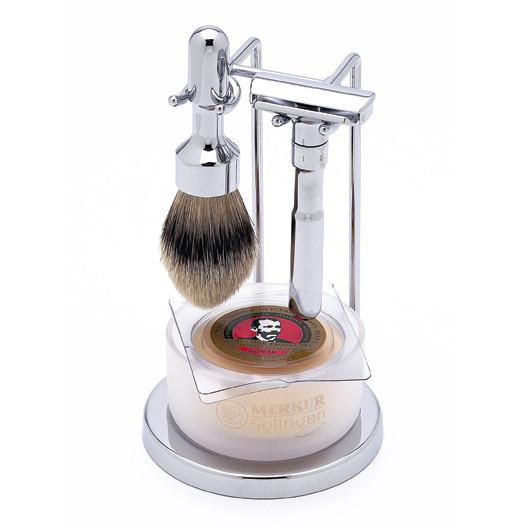 DOVO Merkur Futur 4-Piece Classic Wet-Shaving Set, Polished Chrome Finish Shaving Kit Merkur