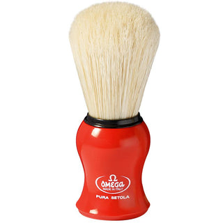 Omega 10065 Pure Boar Bristle Shaving Brush Boar Bristles Shaving Brush Omega Red