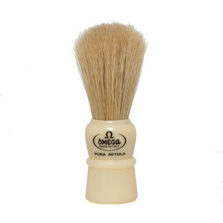 Omega 10086 Boar Bristles Travel Shaving Brush, Ivory Boar Bristles Shaving Brush Omega