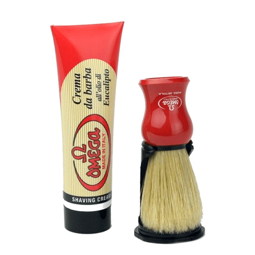 Omega Shaving Cream and Brush with Stand Kit Boar Bristles Shaving Brush Omega 100 ml Tube