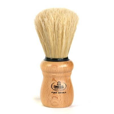 Omega Boar Bristle Shaving Brush, Beech Wood Handle Boar Bristles Shaving Brush Omega