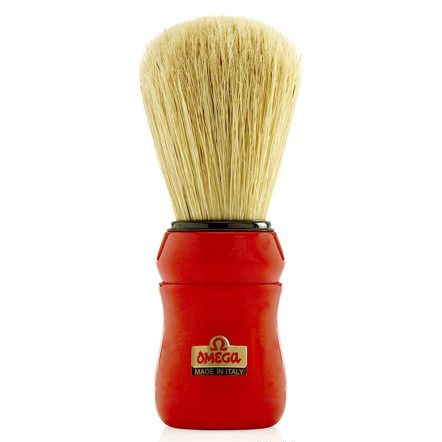 Omega 49 Professional Boar Bristle Shaving Brush, Red Handle Boar Bristles Shaving Brush Omega