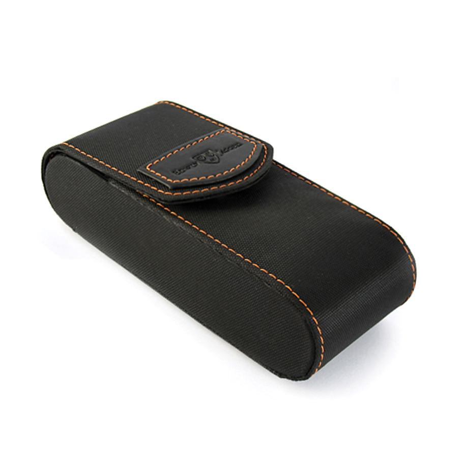 Edwin Jagger Travel Case for Double Edge Safety Razor Razor Case Edwin Jagger Black with Orange Stitching