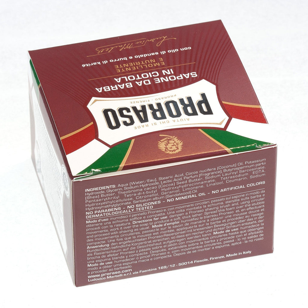 Proraso Red Shaving Soap for Coarse Beard with Sandalwood and Shea Butter Shaving Soap Proraso