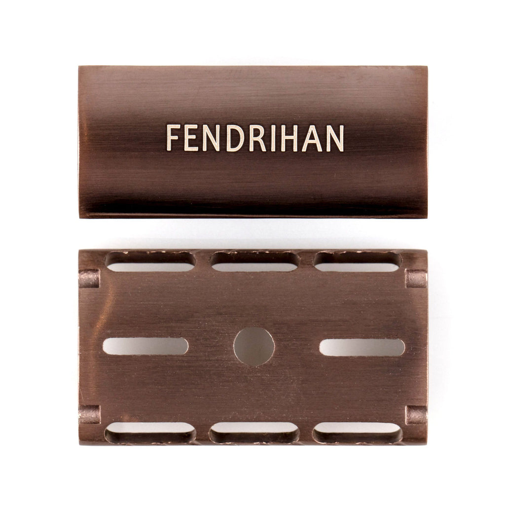 Fendrihan Stainless Steel Safety Razor with Bronze PVD Coated Head, Limited Edition Double Edge Safety Razor Head Fendrihan