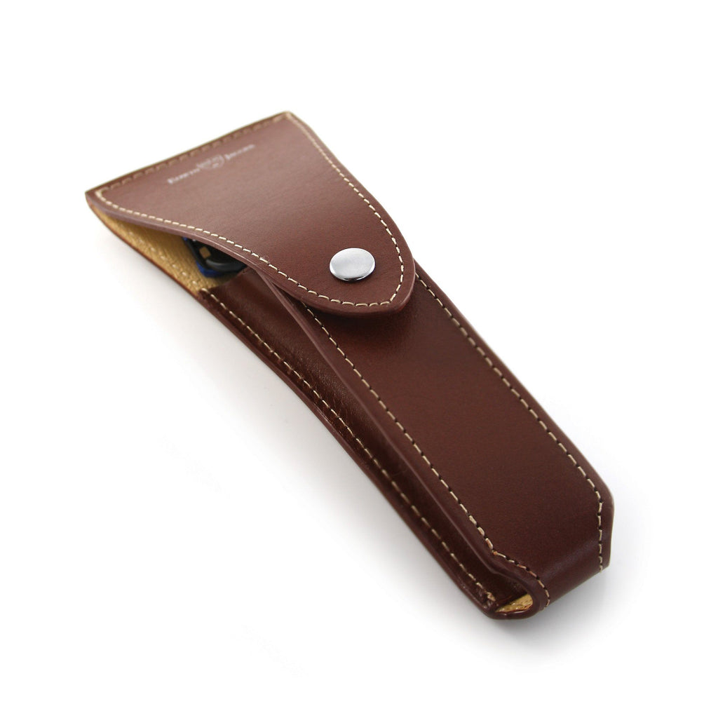 Edwin Jagger Leather Travel Case for Double Edge Safety Razor, Brown Razor Case Edwin Jagger