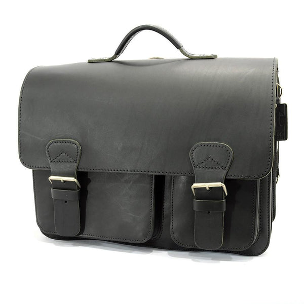 Ruitertassen Classic 2137 Leather Messenger Bag, Black - Fendrihan - 1