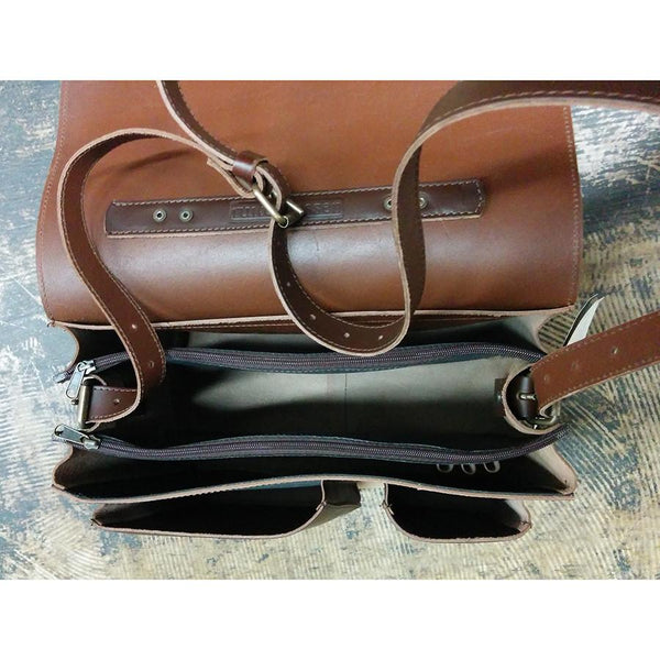 Ruitertassen Classic 2142 Leather Messenger Bag, Dark Brown - Fendrihan - 4