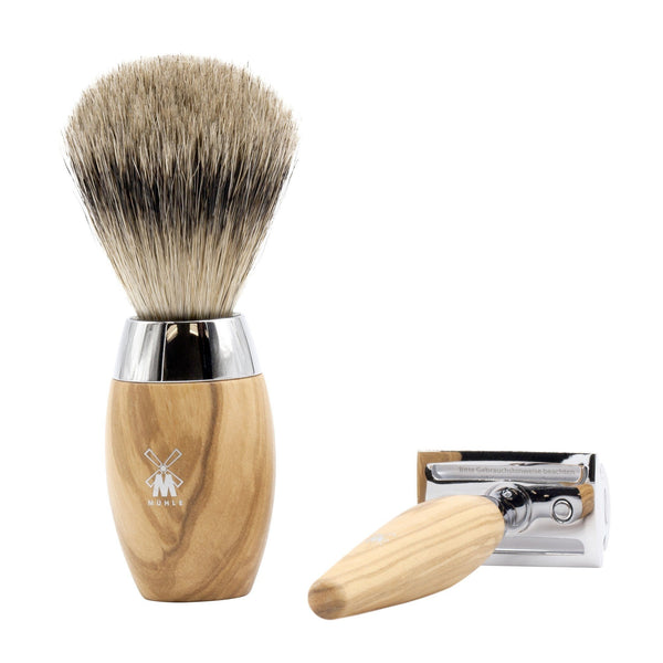 Muhle Kosmo 3-Piece Shaving Set with Safety Razor and Silvertip Badger brush, Olivewood - Fendrihan - 2