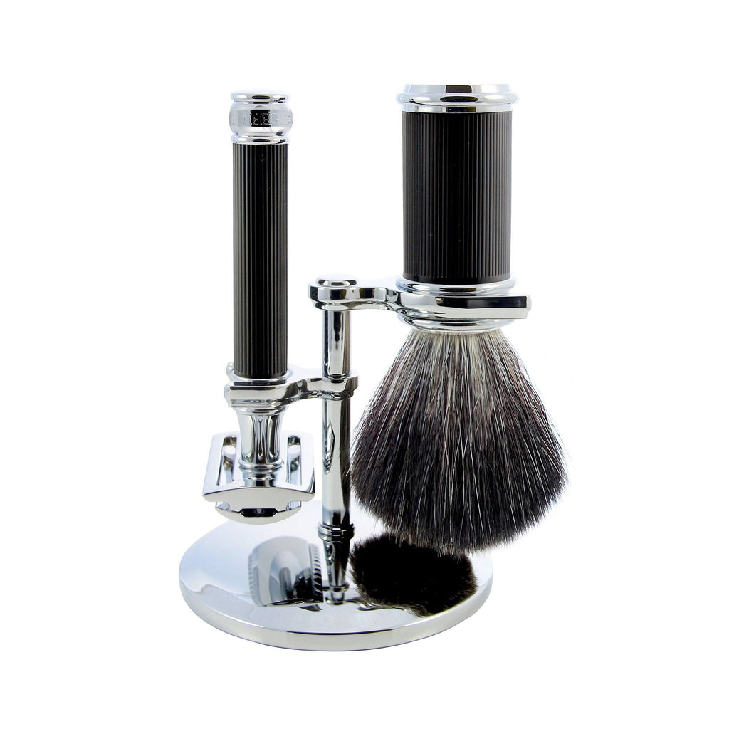 Edwin Jagger 3-Piece Set with Double Edge Safety Razor, Synthetic Brush and Stand Shaving Set Edwin Jagger Rubber Coated Black