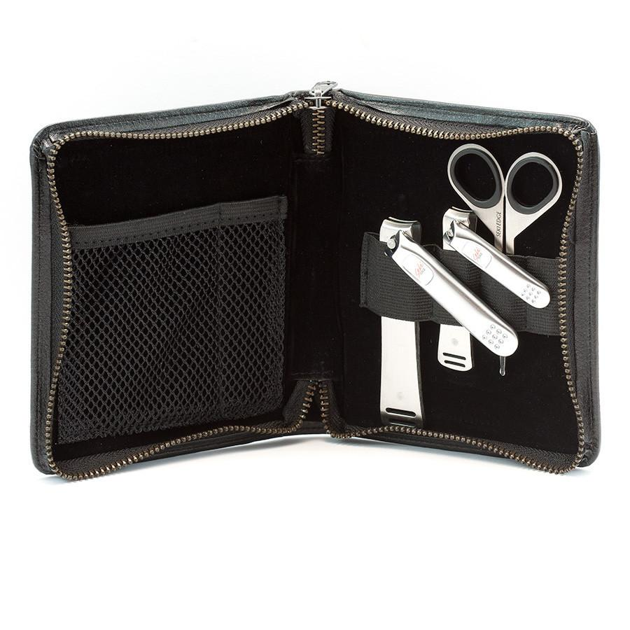 Seki Edge 3-Piece Stainless Steel Men's Premium Grooming Kit, Black Zip Case Manicure Set Seki Edge