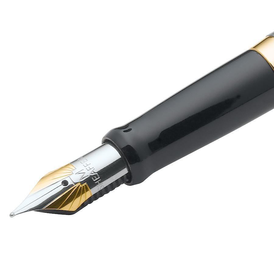 Sheaffer Sagaris Fountain Pen, Brushed Chrome Featuring Gold Tone Trim, Medium Nib Fountain Pen Sheaffer