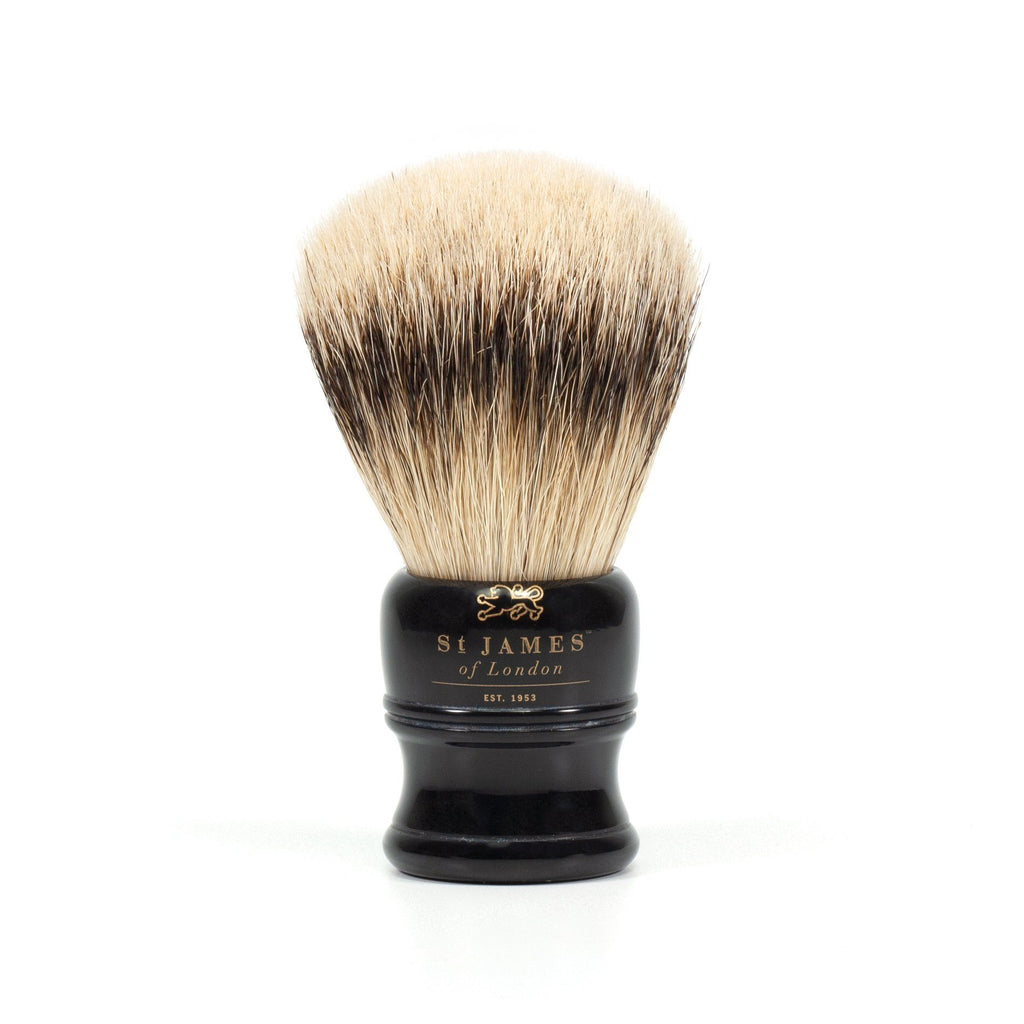 St. James of London Silvertip Badger Shaving Brush, Black Badger Bristles Shaving Brush St. James of London Small
