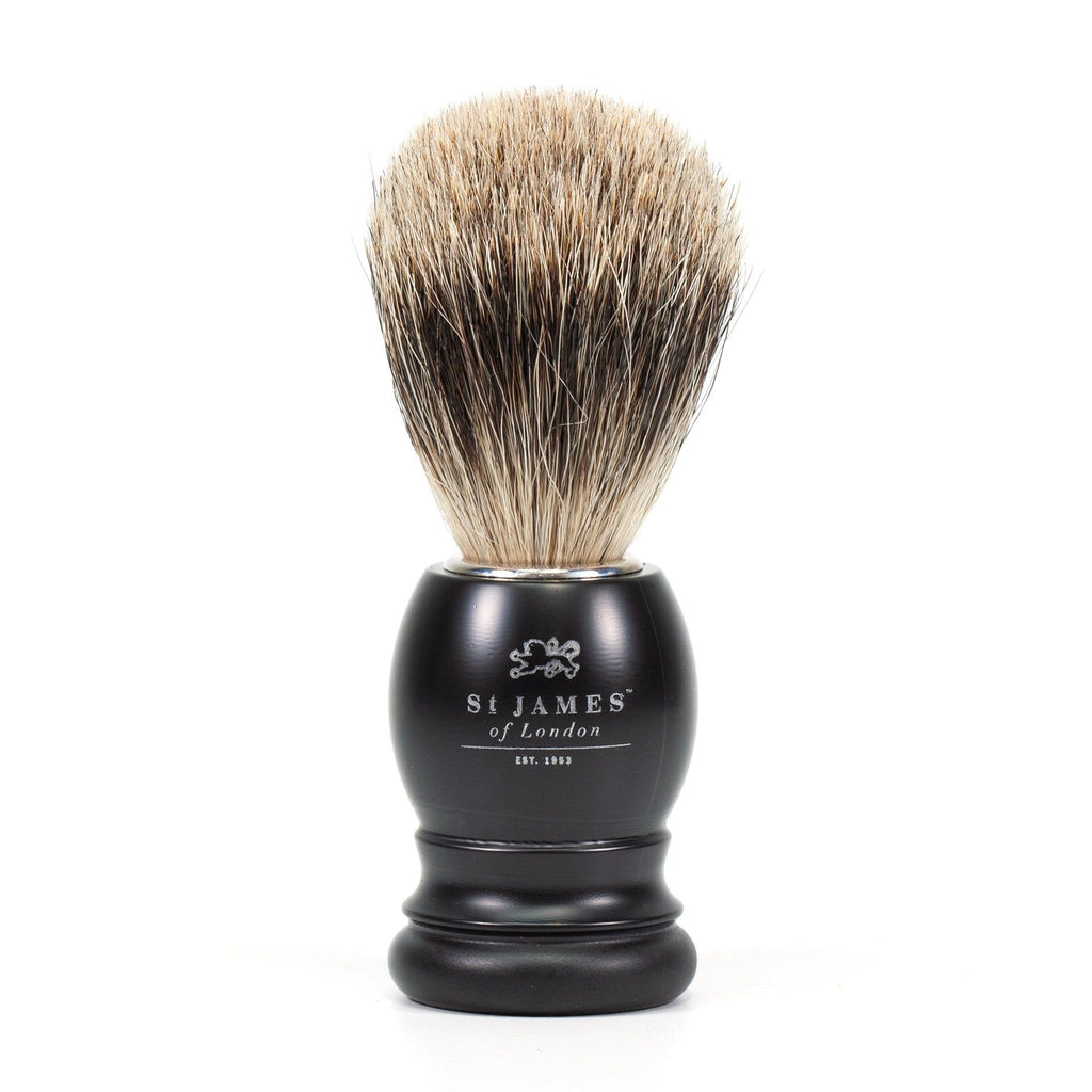 St. James of London Super Badger Shaving Brush Badger Bristles Shaving Brush St. James of London Ash (Matte Black)