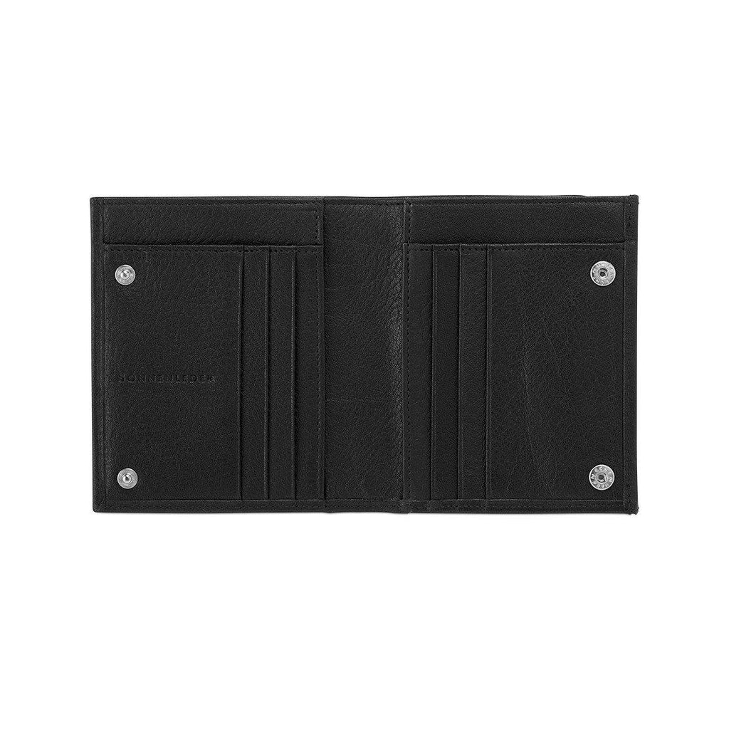 "Sonnenleder ""Wienfluss G"" Vegetable Tanned Leather Wallet with Coin Purse Leather Wallet Sonnenleder Black"