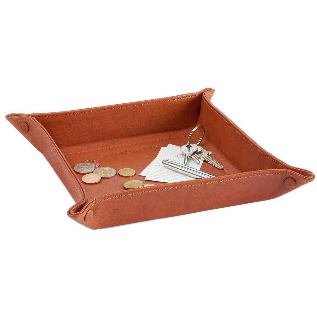 Sonnenleder Vegetable Tanned Leather Tray, Natural Leather Travel Tray Sonnenleder Small