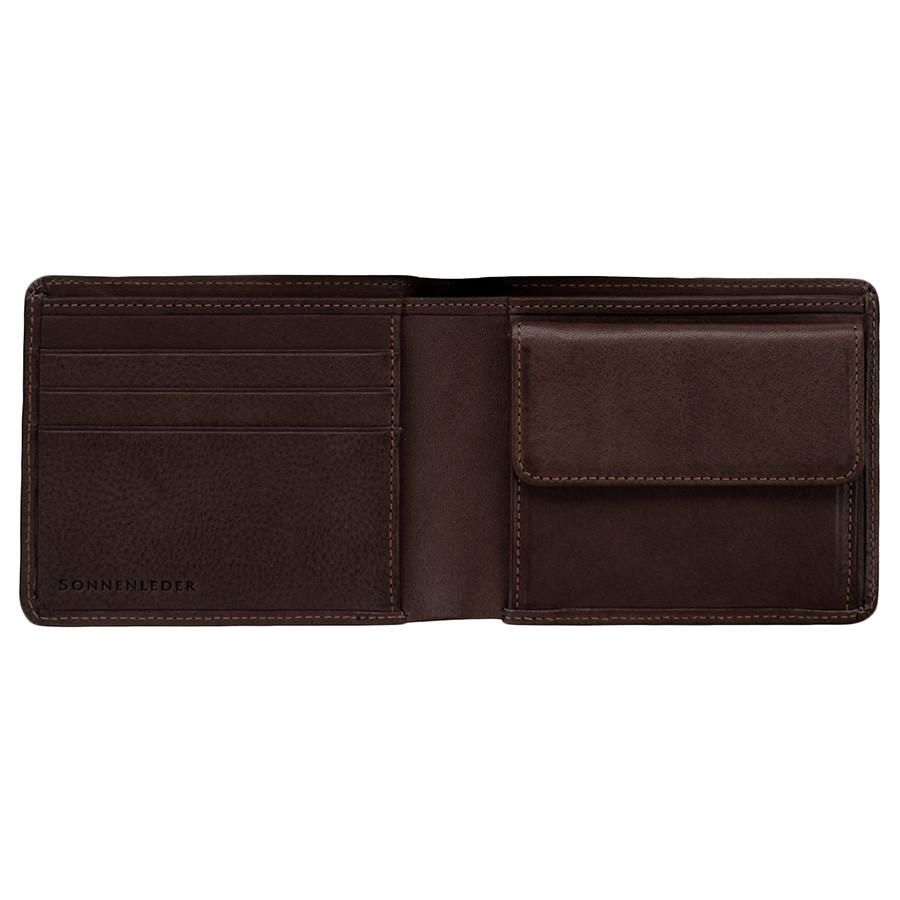 "Sonnenleder ""Spree"" Vegetable Tanned Leather Wallet with 3 CC Slots and Coin Pocket, Mocha Brown Leather Wallet Sonnenleder"