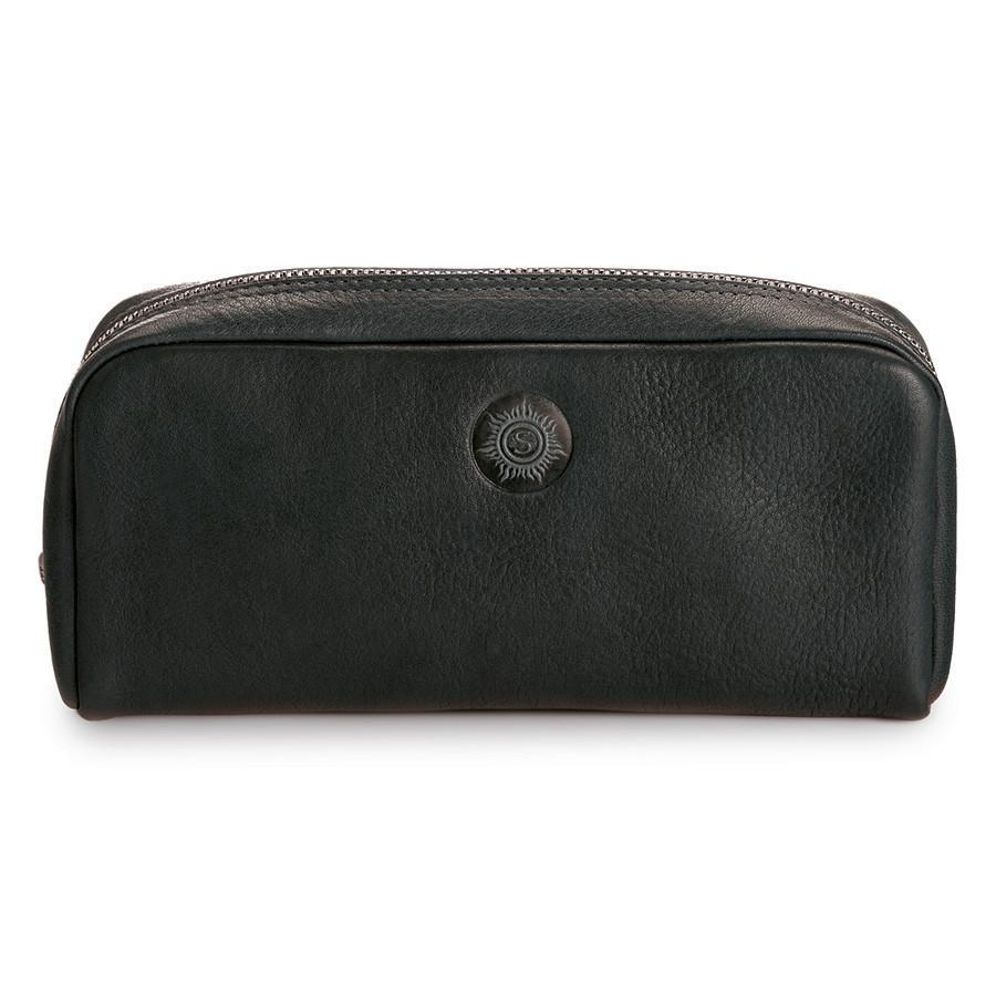 "Sonnenleder ""Faschina"" Vegetable Tanned Leather Toiletry Bag Grooming Travel Case Sonnenleder Black"