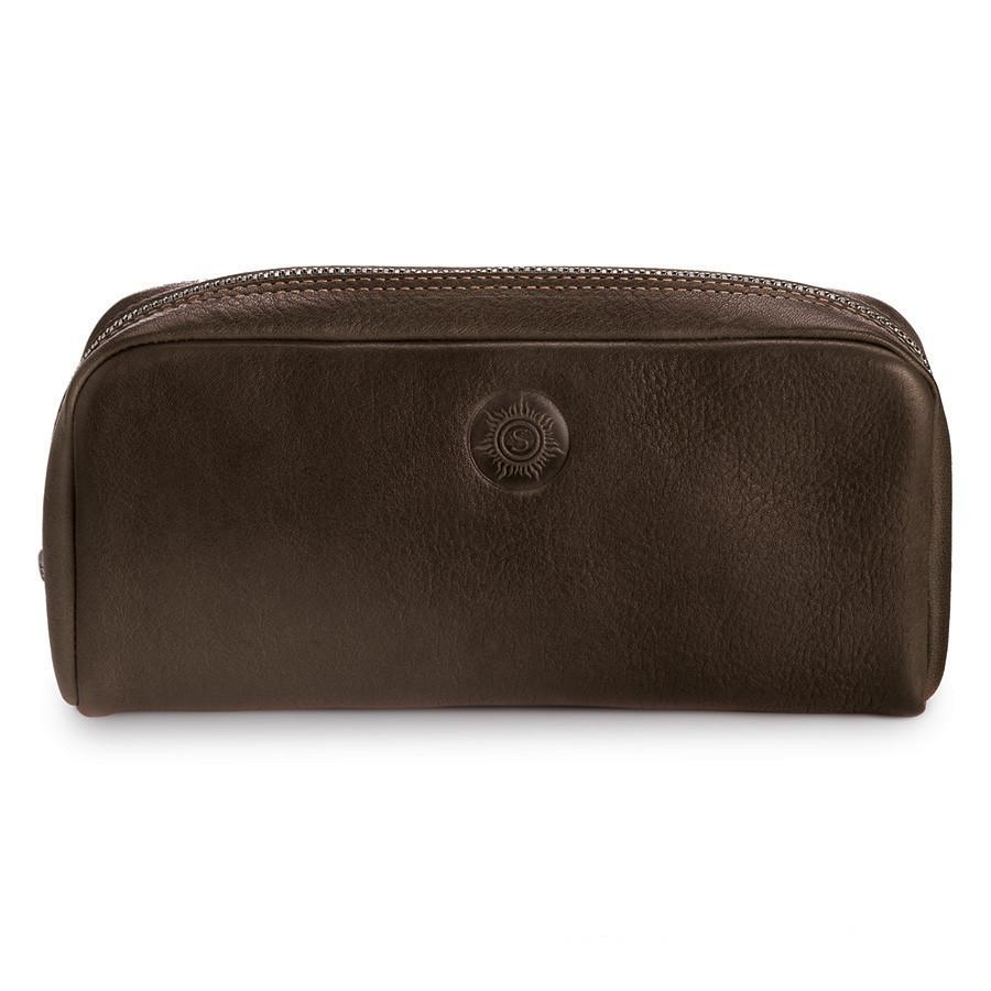 "Sonnenleder ""Faschina"" Vegetable Tanned Leather Toiletry Bag Grooming Travel Case Sonnenleder Mocha Brown"