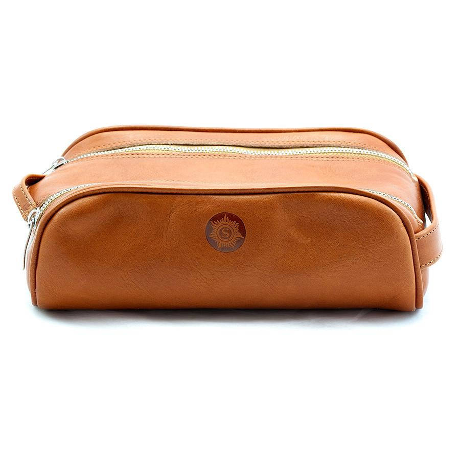 "Sonnenleder ""Reschen"" Vegetable Tanned Leather Toiletry Bag, Natural Toiletry Bag Discontinued"